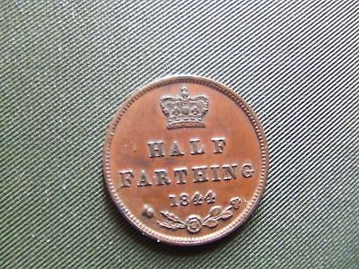 Queen Victoria.   1844, Half Farthing.  E Over N, Very Rare.   Nice Condition.