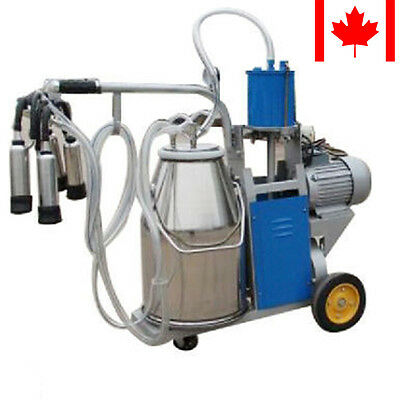 (Ship from CA) Electric Milking Machine Farm Cow+ 25L Bucket Vacuum Piston Pump