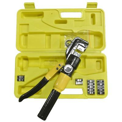 10 Ton Hydraulic Wire Battery Cable Lug Terminal Crimper Crimping Tool w/ 9 Dies