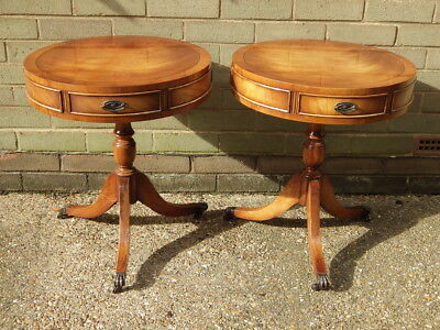 ANTIQUE Style Pair of Mahogany DRUM TABLES (By Bevan Funnell)