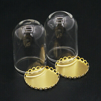 1:12 Miniature 2PCS Glass Display Bell Jar w/ Metal Golden Base Tray  Dollhouse