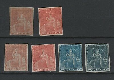 Mauritius 1858 selection of 6 diffrent colors vf MINT