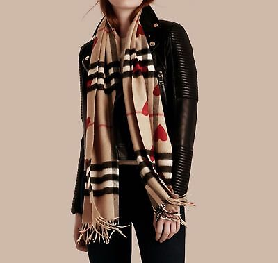 BURBERRY Classic Cashmere RED Hearts Scarf