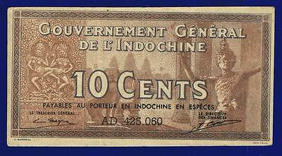 FRENCH INDOCHINA  10 CENTS 1942 x-fine  PIC85 ES-3