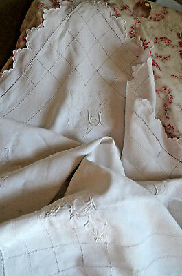Antique French hand embroidered pillow case, PC monogram, drawn thread work