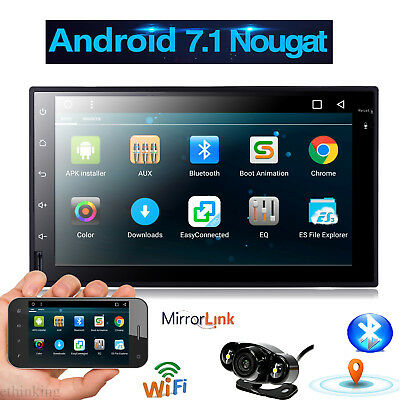 Double 2Din Android 7.1 Car Stereo GPS NO-DVD Player OBD2 HeadUnit Free Camera
