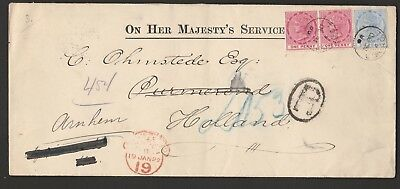 Lagos 1899 O.H.M.S. cover  Registered to Holland