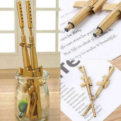 Gold Rifle Shape Black Ink Ballpoint Pen Stationery Office Ball Point Novelty .