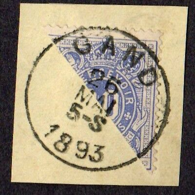 Stamp ~ BELGIUM DIAGONAL BISECT Postmarked GAND ~ 1893 On Paper