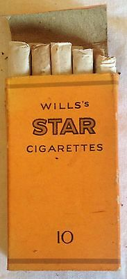 vintage collectable wills star  orange 10 cigarette  packet + contents