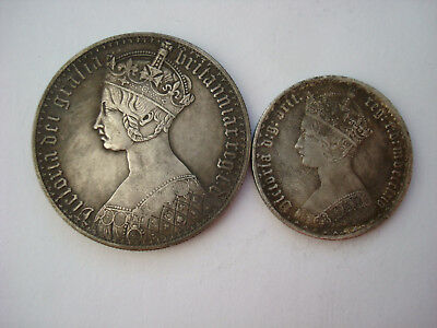 Set Gothic Crown + Florin Two 2 Shillings Queen Victoria Britain UK British
