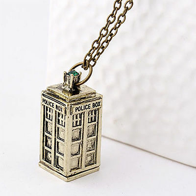 New Doctor Who 3D TARDIS Police Box Pewter 3 Colors Silver Long Pendant Necklace