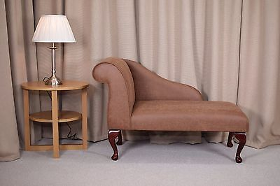 "41"" Small Chaise Longue Lounge Sofa Bench Seat Chair Tan Faux Leather Queen Anne"