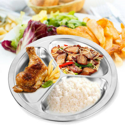Stainless Steel Round Divided Dish Food Snack Dinner Plate 22/24/26cm Dia Tray
