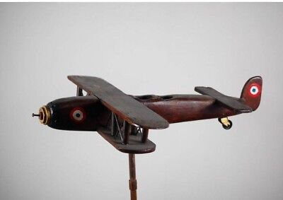 Antique French Biplane Weather Vane Topper Scratch Built