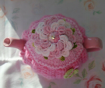 Hand Knitted Pink Flower Tea Cosy  For A Small Teapot Crochet Butterfly