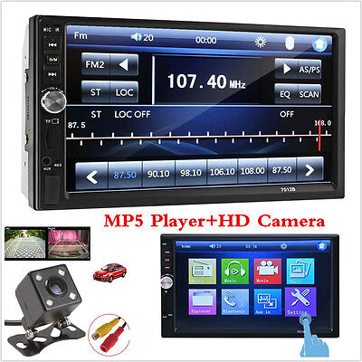 "Touch In Dash Stereo Car DVD CD Player 7"" Bluetooth FM Radio TF/USB 2 Din+Camera"