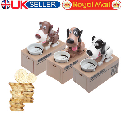 Cute Dog Choken Hungry Eating Dog Coin Bank Saving Box Piggy Bank for Kids UK