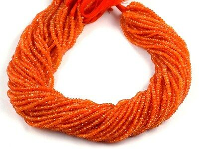 "5 Strands Natural Light Carnelian Faceted Rondelle Gemstone Beads 2.5x3mm 13.5""L"