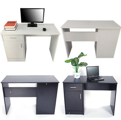 Computer Desk Office Workstation Laptop PC Table with Drawer Cabinet Black/White