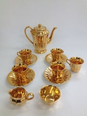 Retro Wade Coffee Set Gold Lustre 11 Piece Set With 1 Extra Cup (BC)