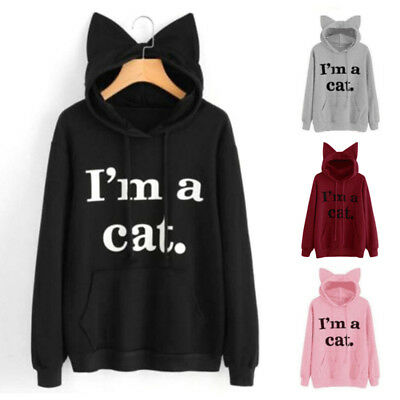 I'M A CAT Autumn Women Girls Casual Pullover Long Sleeve Hoodies Tops T-shirts