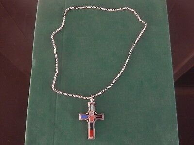 """Large Antique/Vintage Agate  Polished Hard Stone Cross on 30"""" Heavy Silver Chain"""