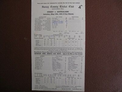 SCORECARD - SURREY v AUSTRALIANS @ THE OVAL - MAY 1961