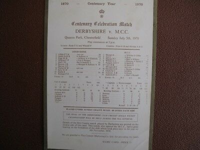 SCORECARD - DERBYSHIRE v M.C.C. - CENTENARY MATCH @ CHESTERFIELD - JULY 1970