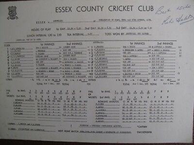 SCORECARD - ESSEX v AUSTRALIA  - AUGUST 1975 - ROBIN HOBBS 100 - SIGNED