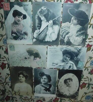 Estate 8 1900s French Portrait Lady Actress Glitter Photo Greeting Postcards
