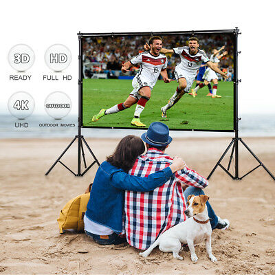 """100"""" Electric Motorized Projector Projection Screen HD Home Cinema 16:9+Remote"""