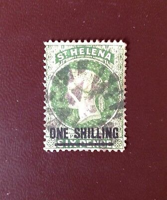 St Helena 1864-80 1s Yellow-Green SG30 Used