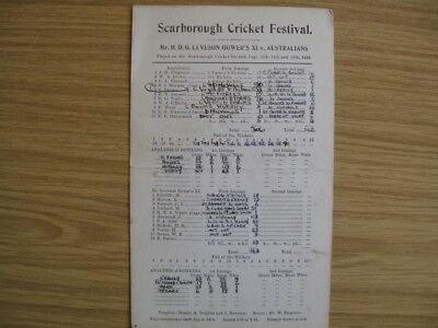 SCORECARD - LEVESON-GOWER'S XI v AUSTRALIANS  @SCARBOROUGH - SEPT. 1938