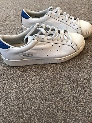 Men's Women's White And Blue Adidas Tennis Trainers Vintage Retro Size 7