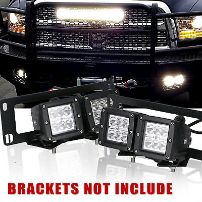 4pcs 80W Dual LED Pods Light Bar Driving Foglight For 09-12 Dodge RAM