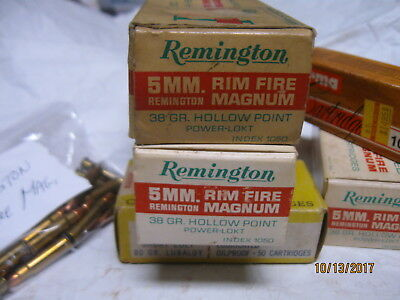 2 Rare Remington 5mm RIM FIRE MAGNUM ammo cartons storage trays MORE boxes avail
