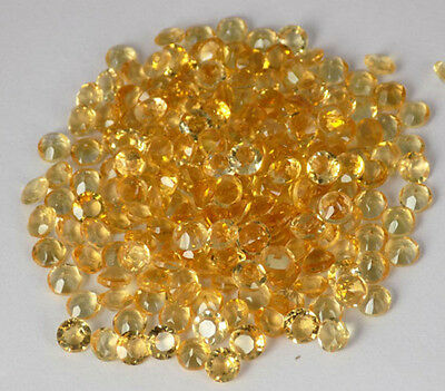 Wholesale Lot 100 Pcs Natural Citrine Round 4mm 25Cts Normal Cut Loose Gemstone