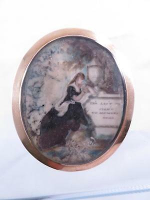 Rare 9Ct Gold Georgian Hand Painted Large Oval Mourning Brooch With Motto