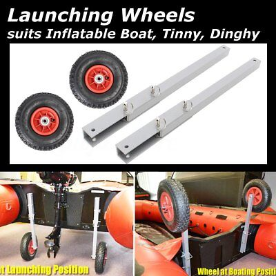 1Pair Dia:25cm Inflatable Boat Transom Launching Wheel for Dinghy Yacht Tender