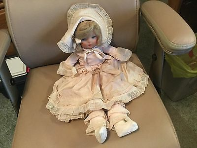 """Vintage 1930's Mask Face Cloth 20"""" Toddler Boudoir Bed Baby Doll In Cute Outfit"""