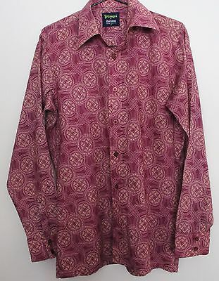 VINTAGE 1970'S Tramps By Sheraton Mens Funky Mauve Geometric Cotton Shirt M