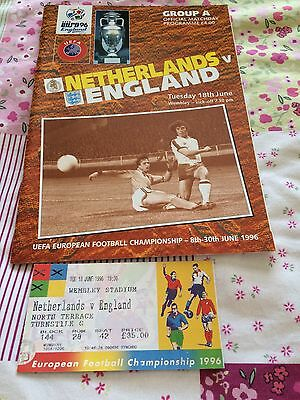 Euro 96 Netherlands V England Official Matchday Programme And Ticket