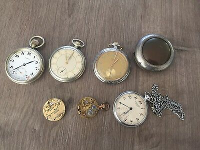 stock of antique pocket watches, movements and case