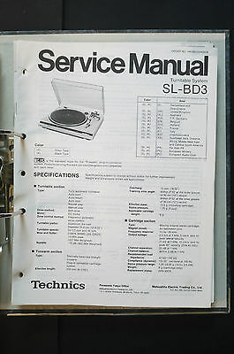 TECHNICS SL-BD3  Original Plattenspieler/Turntable Service-Manual/Schaltplan!