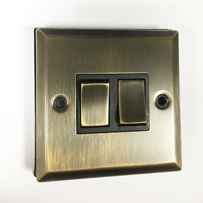Antique Brass Double Light Switch Flat Plate 2 Way 2 Gang Gold Color Metal