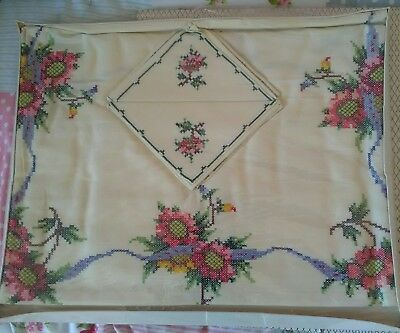 Boxed Vintage Real Chinese Hand Embroidered  Table Cloth & Napkins