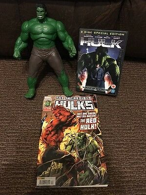 "Marvel The Incredible Hulk Bundle - 10"" Hasbro Figure Sound, Comic & 2 Disc DVD"
