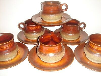Cups Saucers Stoneware Oven Proof Crafted by DANA ' Safari ' 12 Pieces Retro Lot