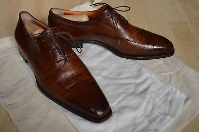 Santoni Herren Business Schuhe, Shoes Gr. 9 / 43 Antik Braun Fatte a mano